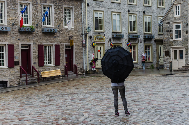 Girl with Umbrella in Old Town Quebec city