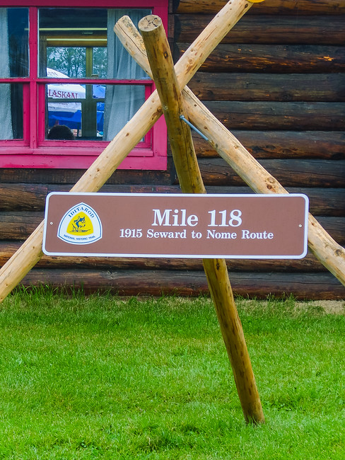 iditarod mileage marker at the alaska state fair