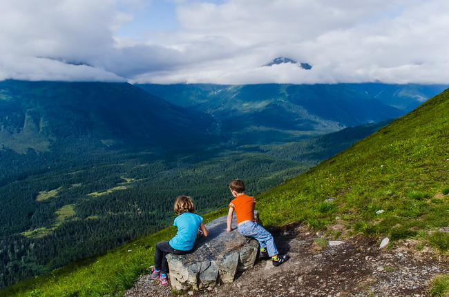 Children on Alyeska Alaska Mountain in the Summer