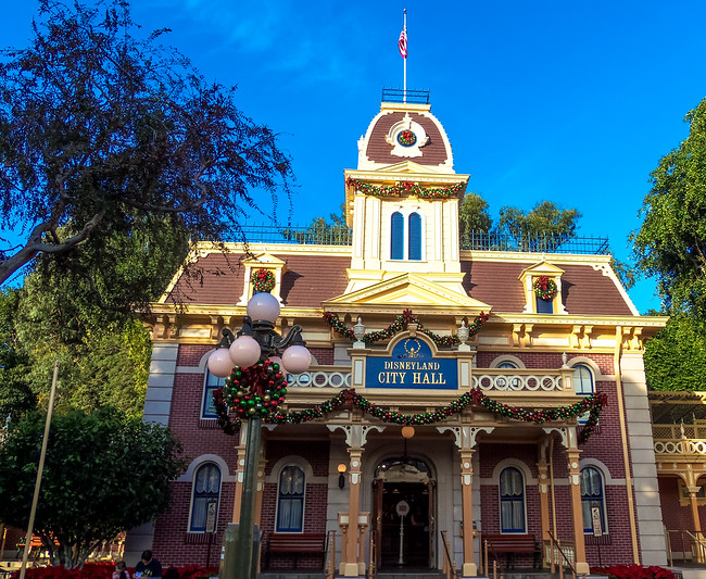 City Hall on Disneyland Main Street at Holiday time