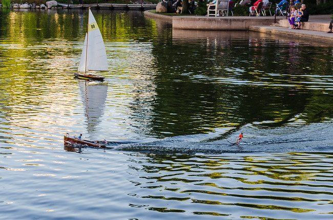 Remote control boats in Centennial Lake Edina Minnesota