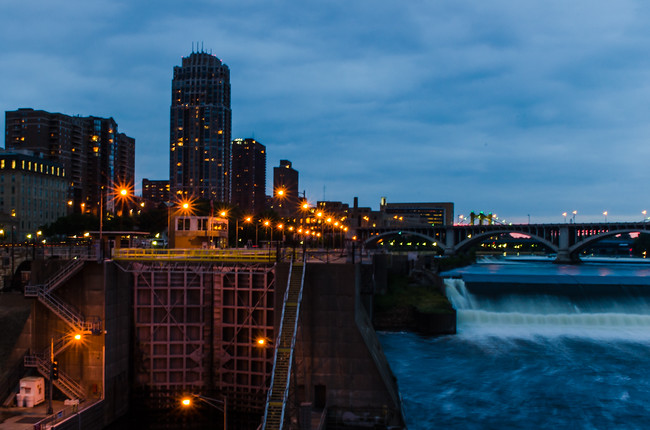 Dusk riverfront minneapolis