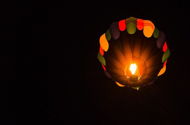 Dawn Patrol Overhead at Night at Albuquerque Balloon Fiesta