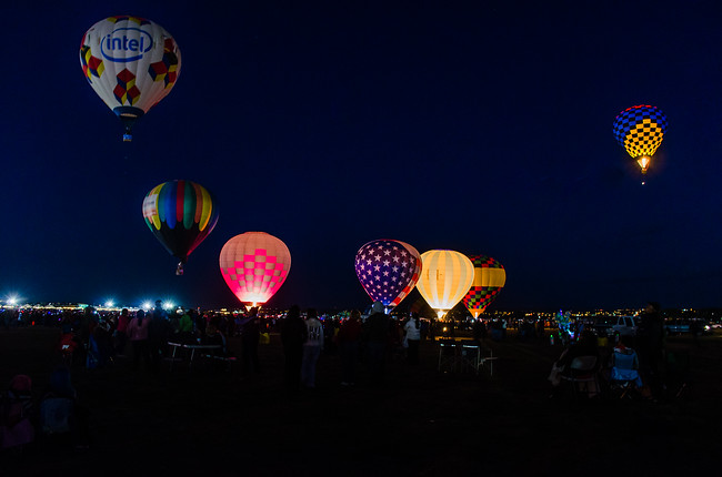 Balloon Fiesta Dawn Patrol Takeoff at Albuquerque New Mexico