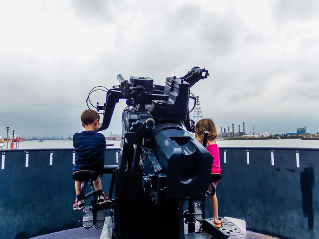 USS Texas guns on deck in Houston