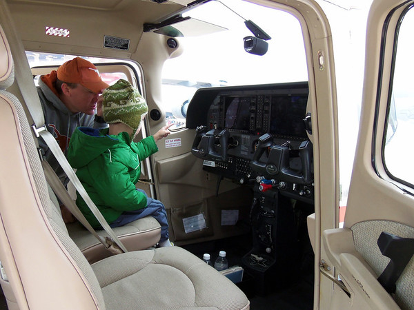 Luke in a Civil Air Patrol airplane at the Alliance Air Show