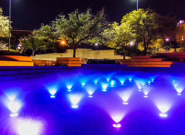 Fort Worth Water Gardens Aerating Pool Lit Up at Night