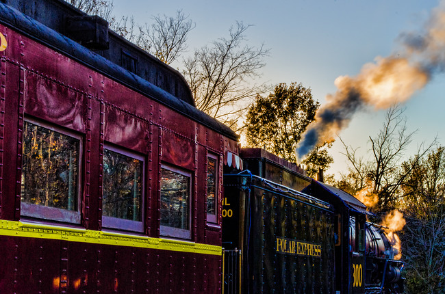 Texas State Railroad Polar Express in Palestine, Texas at Dusk