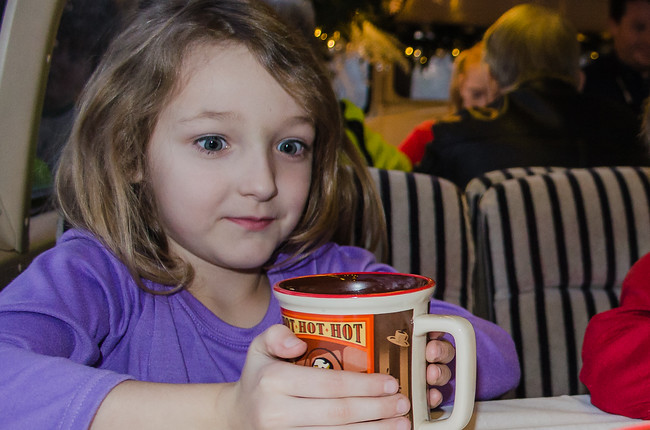 Girl with Hot Chocolate at Polar Express in Palestine Texas