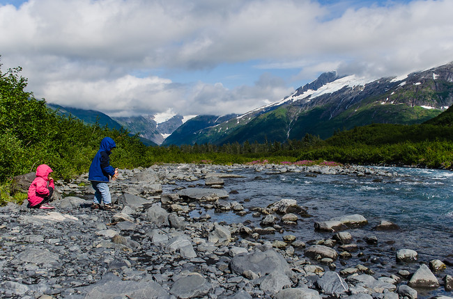 Stream along Byron Glacier Trail in Chugach National Forest on Kenai Peninsula Alaska