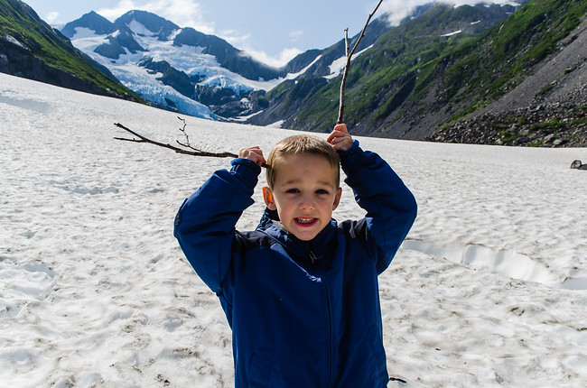 Child Pretending Reindeer at Byron Glacier in Alaska