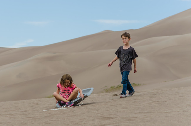 Sledding at Great Sand Dunes National Park