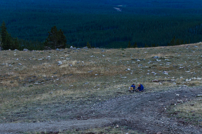 Starting a Campfire in Bighorn Mountains National Forest, Wyoming