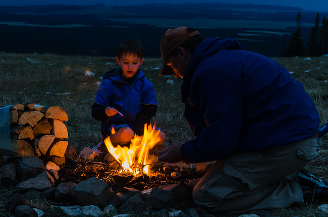 Starting a fire in the Bighorn Mountains National Forest